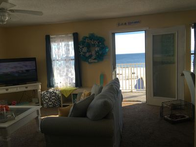 Living Room with view of front balcony & direct gulf view