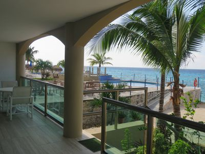 From the terrace overlooking the pools and hot tub.