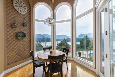 Breakfast Nook View - Even the breakfast room has views that include the pool, the Chimney Rock State Park Mountains and beautiful Lake Lure, in the North Carolina Mountains between Asheville and Charlotte NC