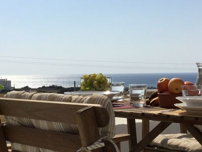 Photo for Sea Breeze Traditional Villa West: Brand new pool! Great Aegean Sea View!