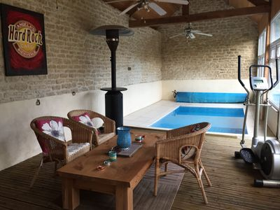 Converted barn and indoor heated pool and leisure area