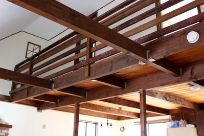 View of upstairs and beautiful woodwork.
