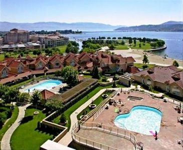 Lovely terrace view over Pool, Beach and Lake Okanagan