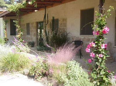 The entrance and patio of the cottage.