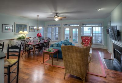 The Seaside Cottage's open floor plan living area...see the ocean view!