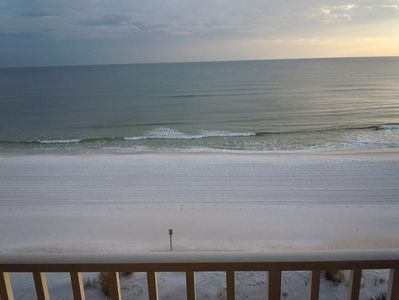 Breathtaking balcony view of beach and gulf, accessed from living and master.