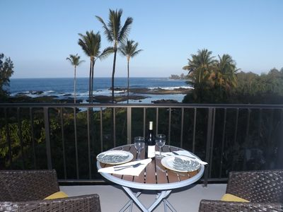 Dine in the tropical breezes on the lanai, with the sound of the waves below