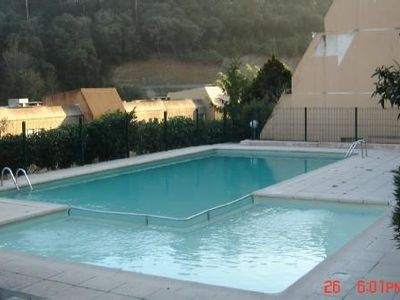 Photo for Loc grd t1 gde sea view terrace residence arboree, pisc, tennis, sea 2km