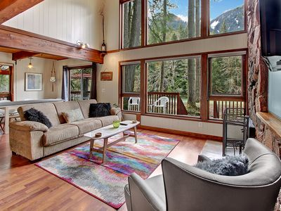 Photo for Stunning Cabin on the Sparkling Skykomish! High Ceilings, River and Mountain Views, Hot Tub!
