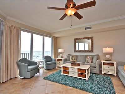 Photo for Upscale gulf-front condo ! Free beach service! 2 lagoon pools + movie center on-site!