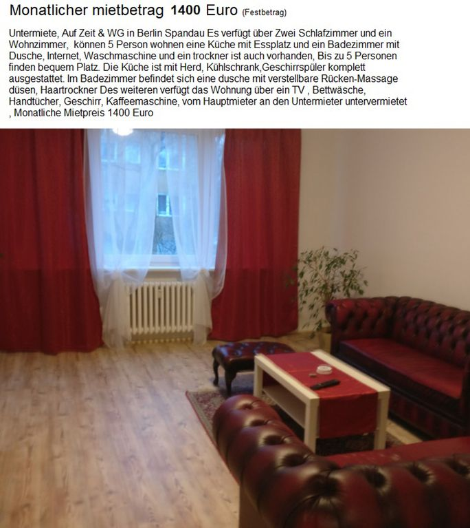 Furniture 80m2 apartment students businessmen, shared flat