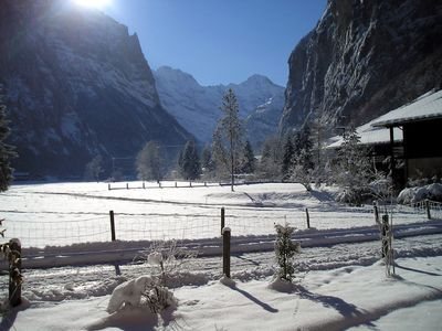 The Lauterbrunnen Valley in winter from the apartment