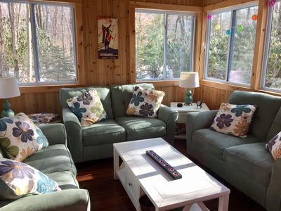 Comfy sunroom -grab a book and a cup of coffee