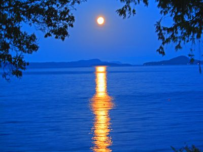 Moonrise over the Gulf Islands viewed from the Deck
