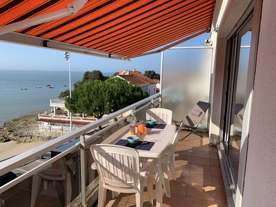 Photo for luxury apartment, top floor with terrace, facing the sea at 20 meters