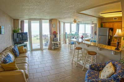 LIving area leads out to balcony which overlooks the Santa Rosa Sound and Bay