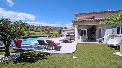 Photo for Villa T6 - 12 people - Private pool - Air conditioning - WiFi - View on the golf course - Ste Maxime