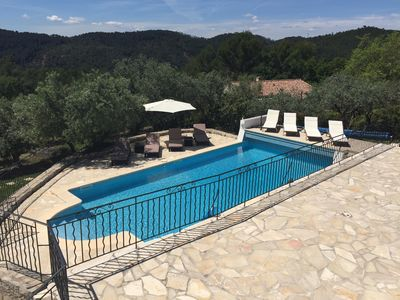 Photo for Claviers - private holiday villa with south facing pool & terraces