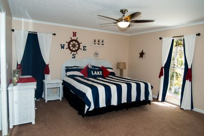 Master  Bedroom w/ adjoining Master Bathroom. King sized Bed