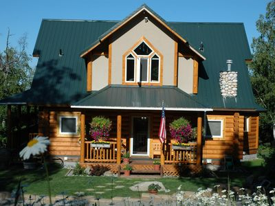 Photo for Beautiful log home on two acres, gardens, Mts & inlet views and wildlife abound