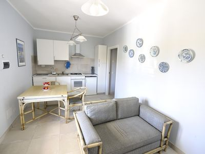 Photo for Nice apartment for 2 people with large garden and swimming pool 1 km from the sea