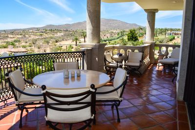 290-sf terrace has fabulous ocean,  mountain & golf course views, and sunsets!