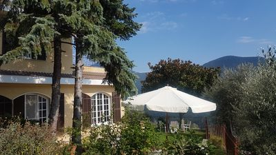 Photo for Villa with swimming pool, very quiet location at lively village 15 km from the sea