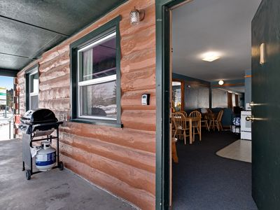 Photo for Lodge cabin with shared hot tubs - walk to dining & shopping - dogs OK!