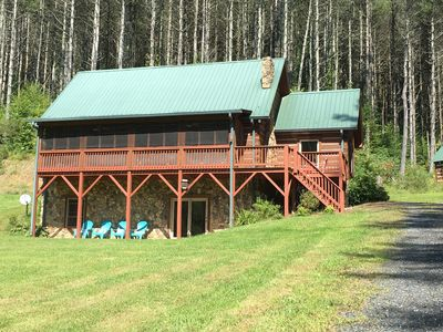 Photo for South Fork New River, Private Log Cabin.  Beautifully decorated, fully equipped.