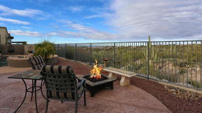 During chilly evenings the gas fire pit and spa will warm your soul