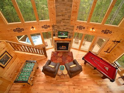 Photo for Luxury 2 Bedroom Gatlinburg Cabin with 18 foot Rain Shower!