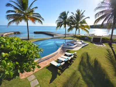 Photo for Gated, Four Bedroom, Four Bath, BEACH FRONT, SEA VIEW, Staffed
