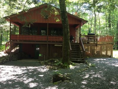 Photo for Cozy- cute chalet style home on a wooded lot. Great for family getaway.