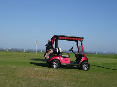 Our new golf cart, Ruby, loves to take you on trips and is yours for the week.