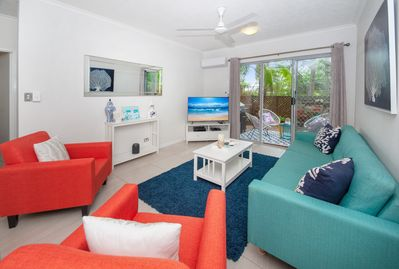 Large TV with Foxtel and Netflix. Coastal touches give the holiday vibe