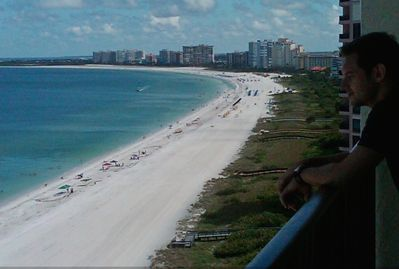 Wonderful penthouse views from the 21' balcony looking north down the beach.