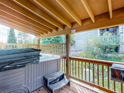 Photo for Mountain home w/ hot tub, grill, garage & views - close to trails, 2 dogs OK!
