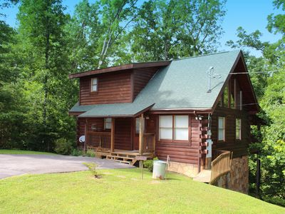 """Photo for """"Brother Bear""""  beautiful custom built cabin,$285.77 in FREE area attraction Tickets Per Paid Night."""