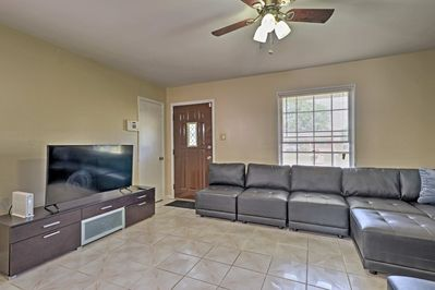 3 beds, 1 bath, and 1,200 square feet of space is ample room for 10!