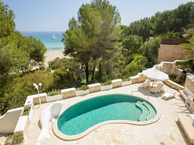 Photo for Top Holiday villa with pool, 1st line on the beach - unique in Ibiza