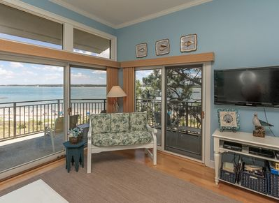 Living Room with Views of the Calibogue Sound at 1883 Beachside Tennis