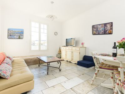 Photo for Cannes near heart of town: 90 sqm 2 BR 2 bath apartment with A/C, lift, ...