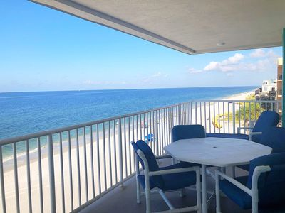 Photo for Gorgeous sunsets over the gulf from beachfront condo with wrap-around balcony