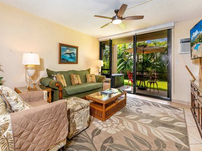 Photo for Lanai to Lush Gardens! Stylish Kitchen, WiFi, Washer/Dryer–Kamaole Sands 9105