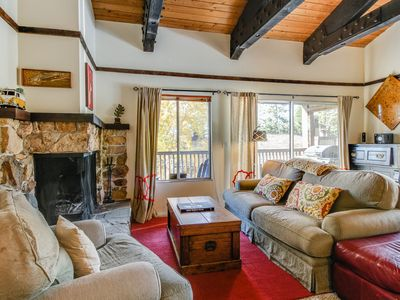 Photo for Cabin-style condo w/ shared pool & hot tub - less than a mile from Lake Tahoe!