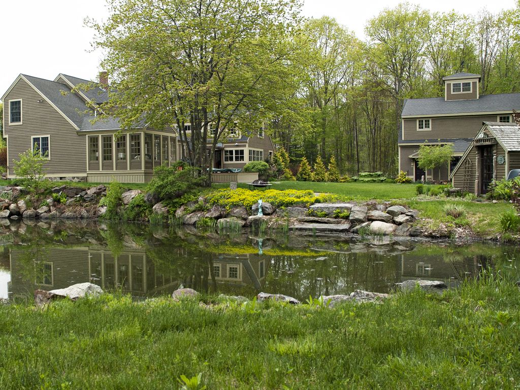 colonial charm of saltbox w modern interio vrbo 2 5 acres of gardens with quaint pond