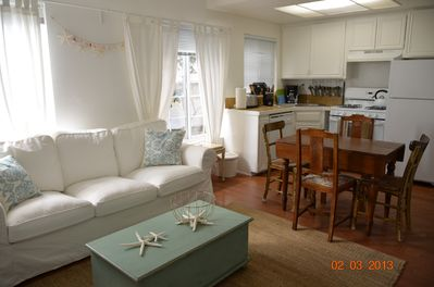 sea glass living room and kitchen area