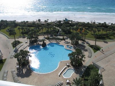 The Gulf and beach are easily accessable through the pool - the balcony view.