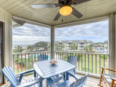 Photo for Beautiful top floor villa w/shared pool, basketball court, and ocean views!
