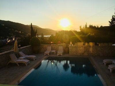 Photo for Large luxury villa with prime private location in Kassiopi. Panoramic views.
